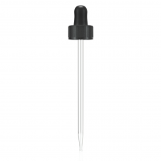 Black 22 mm dropper assembly with rubber bulb and glass pipette (matching 120 ml boston round)