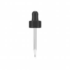 Black 22 mm dropper assembly with rubber bulb and glass pipette (matching 30 ml boston round)